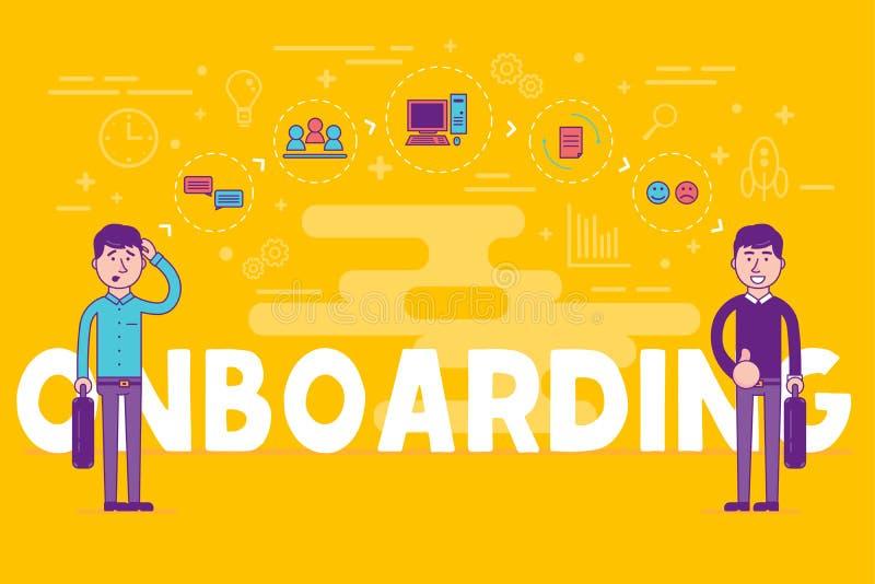 Angestellte, die Konzept onboarding sind Stunden-Manager, die neue Arbeitskräfte für einstellen vektor abbildung