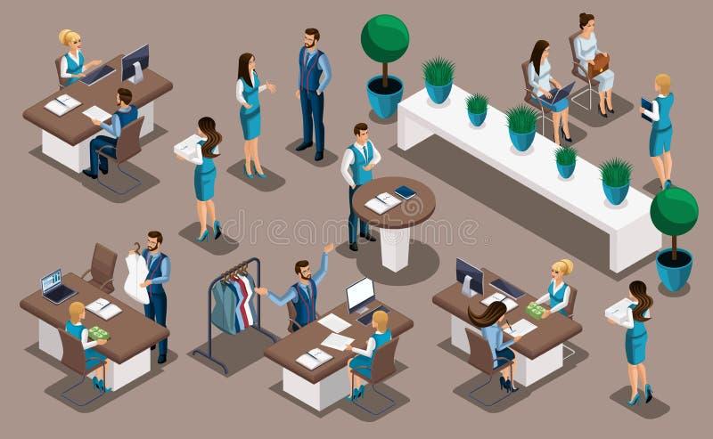 Angestellte Isometry-Bank, Bank, Manager, geben einem Schneider heraus ein Darlehen, um ihr eigenes Geschäft, eine nähende Werkst vektor abbildung