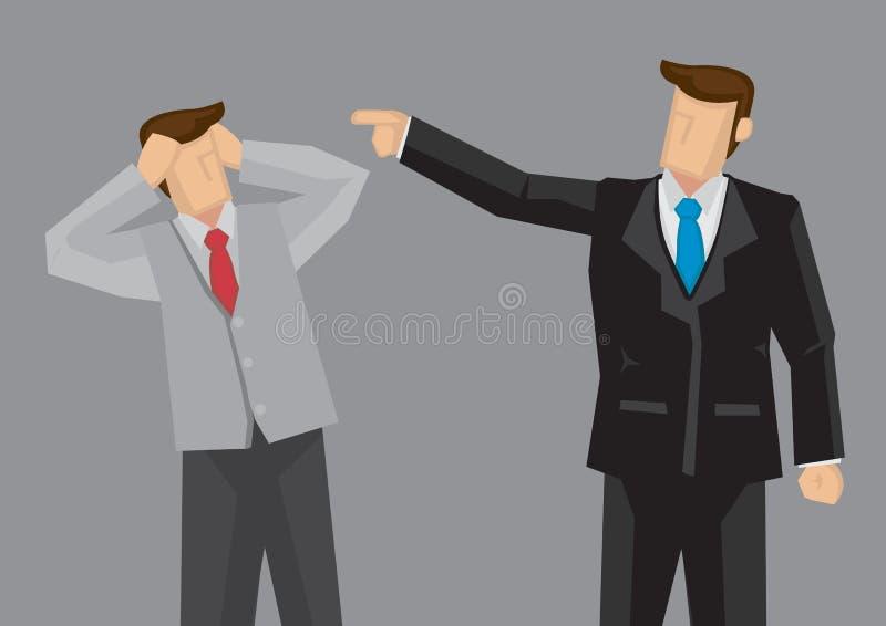 Angestellter erhält durch Chef Vector Illustration gescholten lizenzfreie abbildung