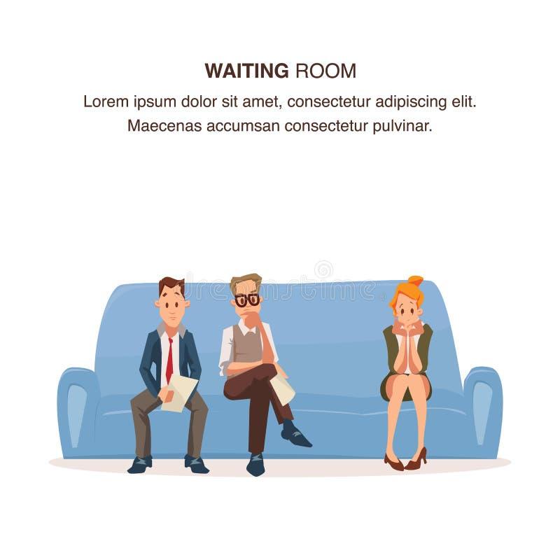 Angestellter sitzen in der Reihe auf Couch im Warteraum stock abbildung