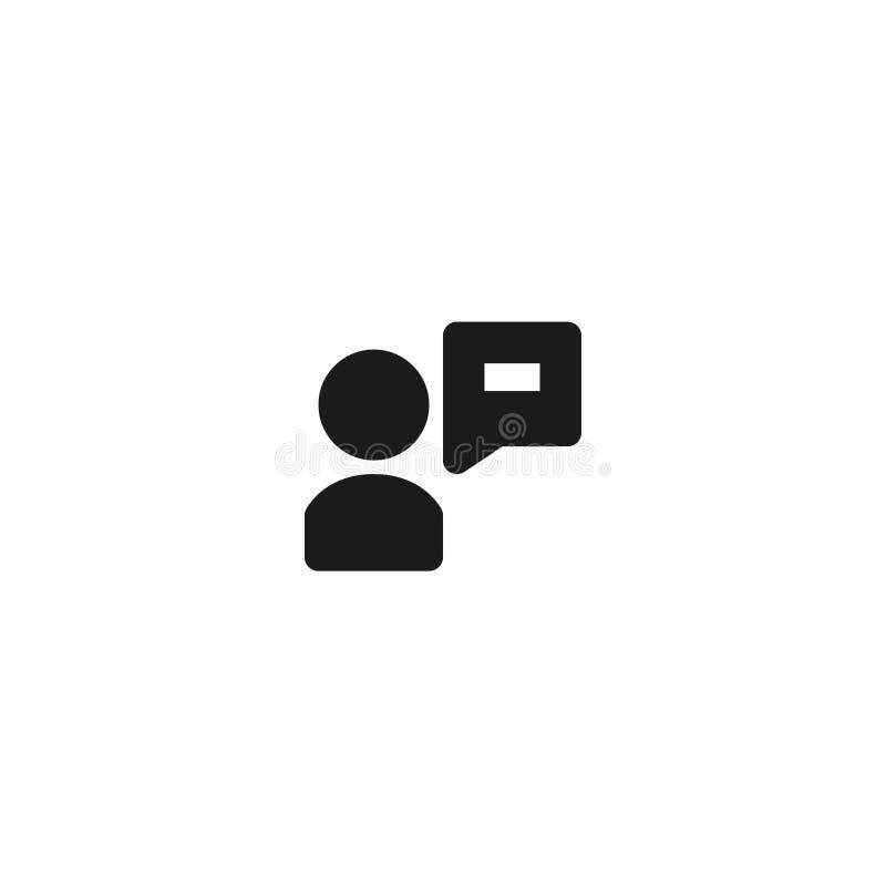 Angestelltmeinungs-Ikonenentwurf Person mit Blasentextboxsymbol für Kommunikationskonzept einfaches sauberes Berufsgeschäft vektor abbildung
