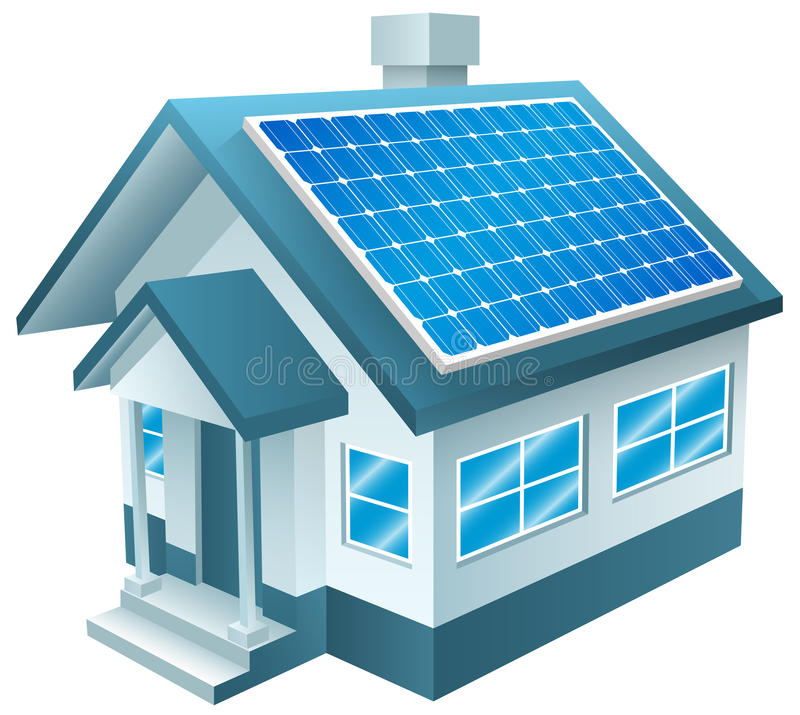 Angetriebenes Solarhaus, Sonnenkollektoren, erneuerbare Energie lizenzfreie abbildung