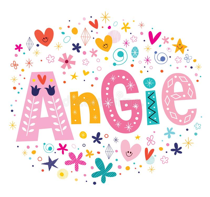 Angie flickor namnger stock illustrationer