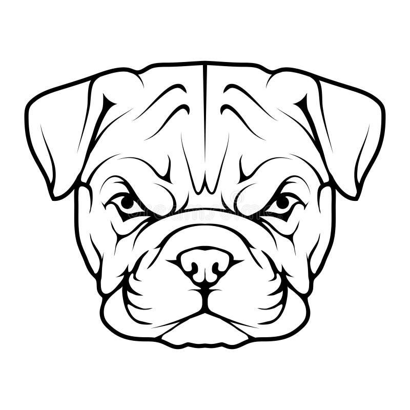 Angielska buldog ikona ilustracji