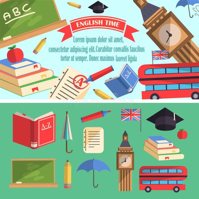 Angielska czas edukaci ilustracja ilustracja wektor