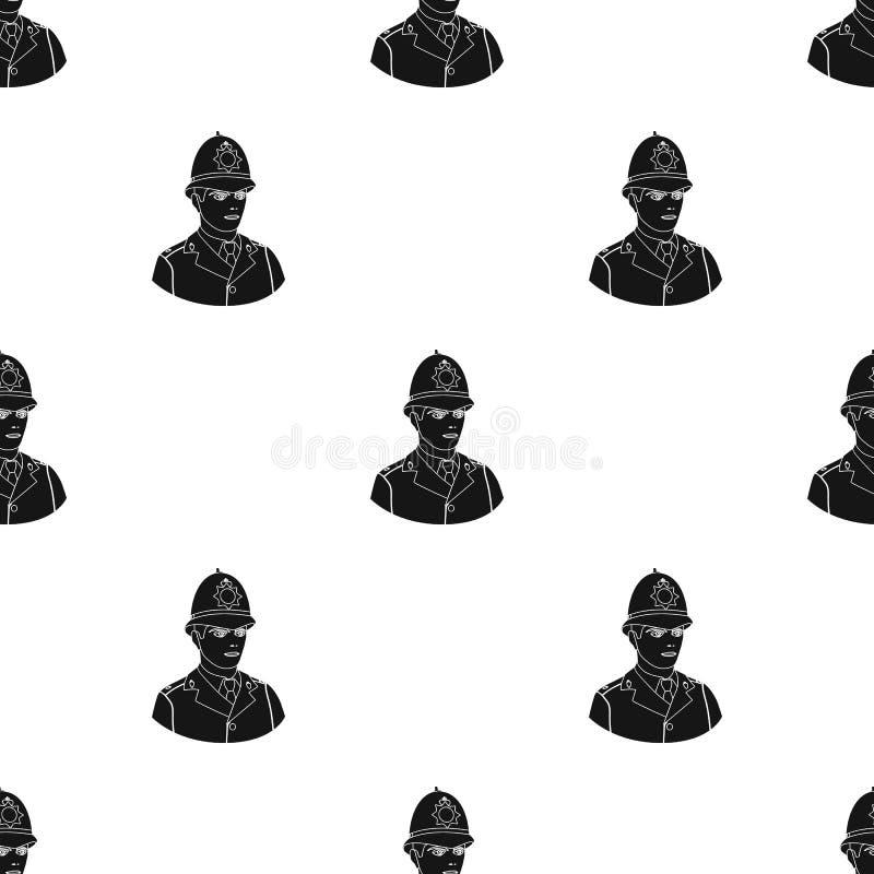 Angielska policjant ikona w czerń stylu odizolowywającym na białym tle Anglia kraju wzoru zapasu wektoru ilustracja ilustracji
