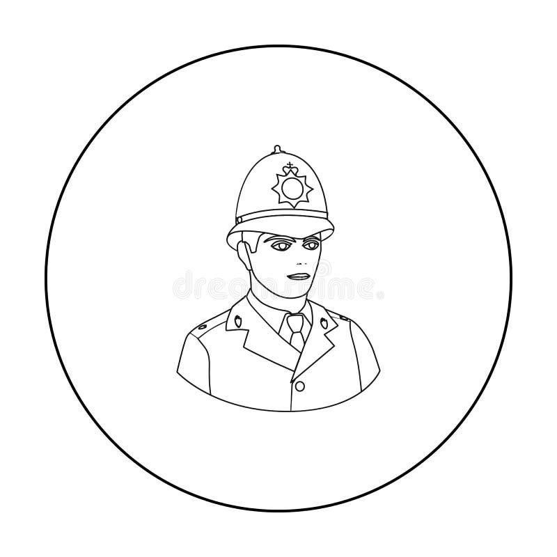 Angielska policjant ikona w konturu stylu odizolowywającym na bielu Anglia kraju symbol royalty ilustracja
