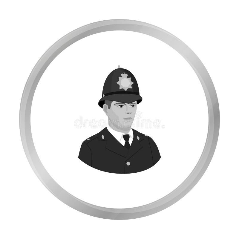 Angielska policjant ikona w monochromu stylu odizolowywającym na białym tle Anglia kraju symbolu zapasu wektor royalty ilustracja