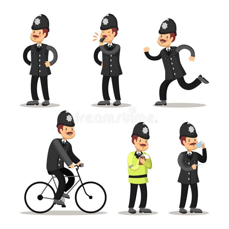 Angielska policjant kreskówka projekta ilustracyjna oficera policja ty ilustracji