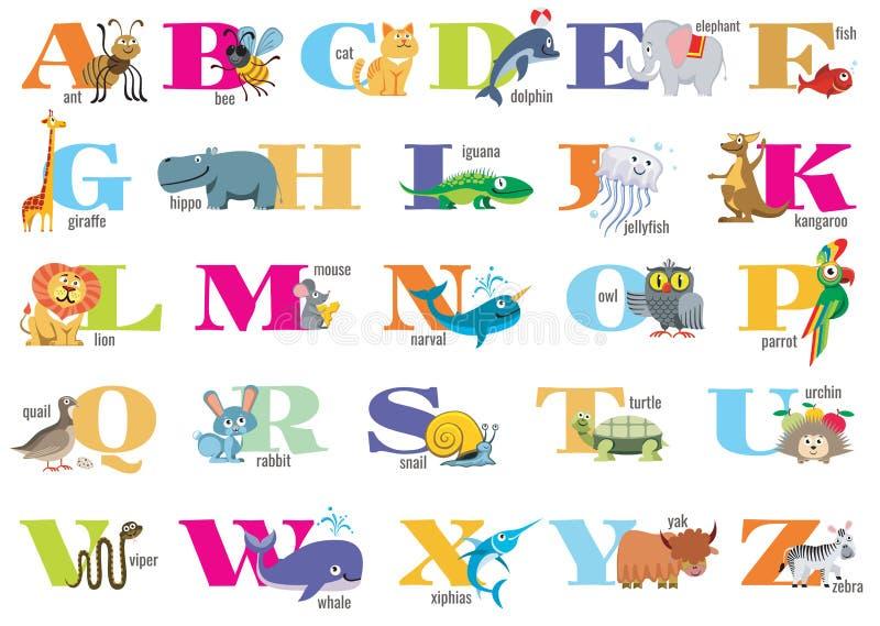 Angielski abecadło dla dzieci z ślicznymi zwierzętami ilustracja wektor
