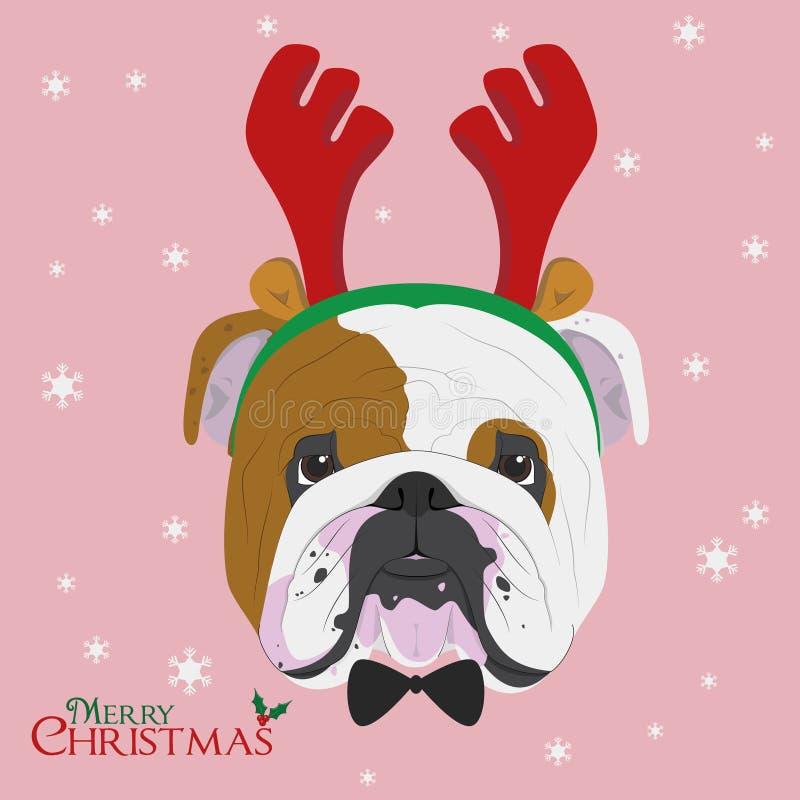 Angielski buldoga pies z reniferowymi rogami royalty ilustracja