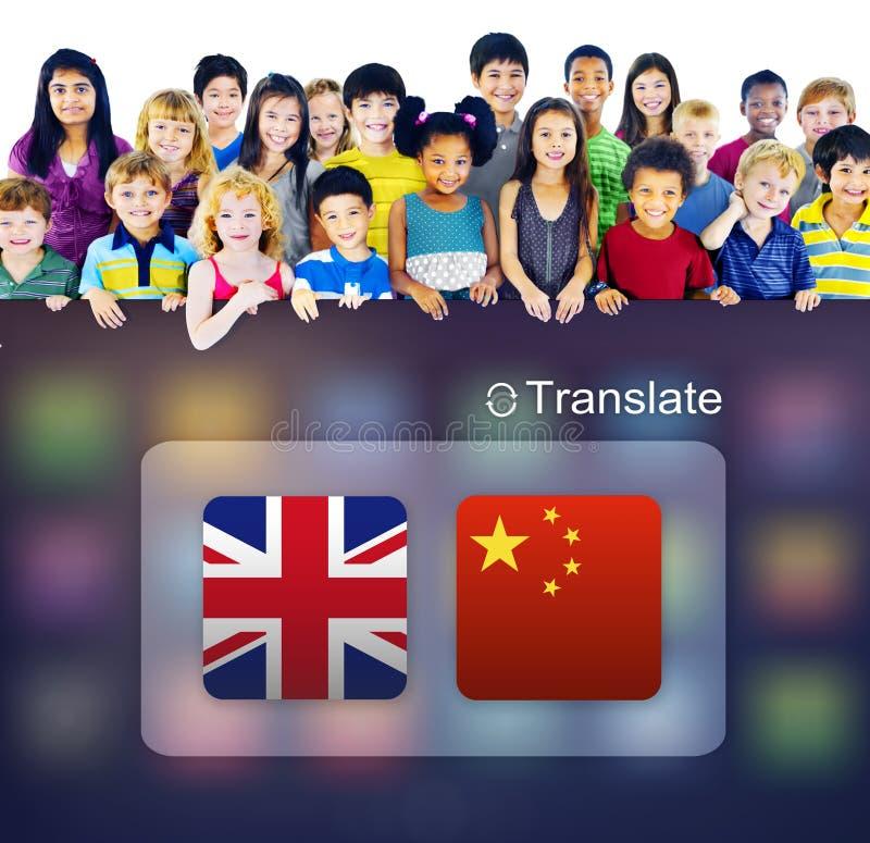 Angielski Chińskich języków przekładu zastosowania pojęcie fotografia stock