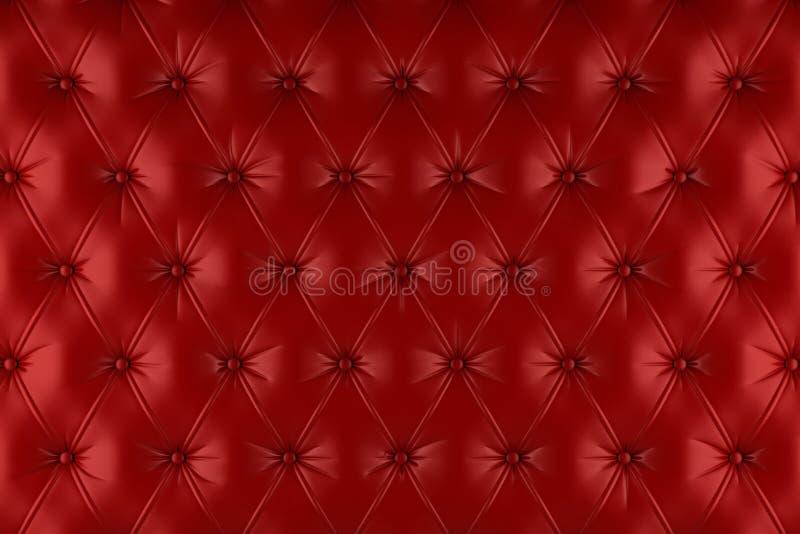 Angielski czerwony prawdziwej skóry tapicerowanie, Chesterfield stylowy tło ilustracja wektor