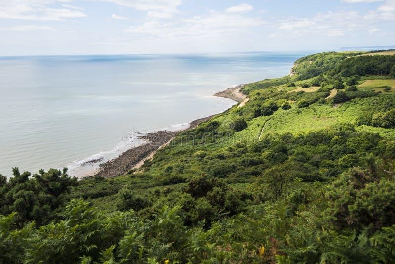 Angielski wybrzeże przy Fairlight, blisko Hastings, Wschodni Sussex, Anglia zdjęcie royalty free