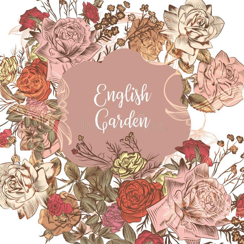 Angielski zaproszenie lub save datę z różami ilustracja wektor