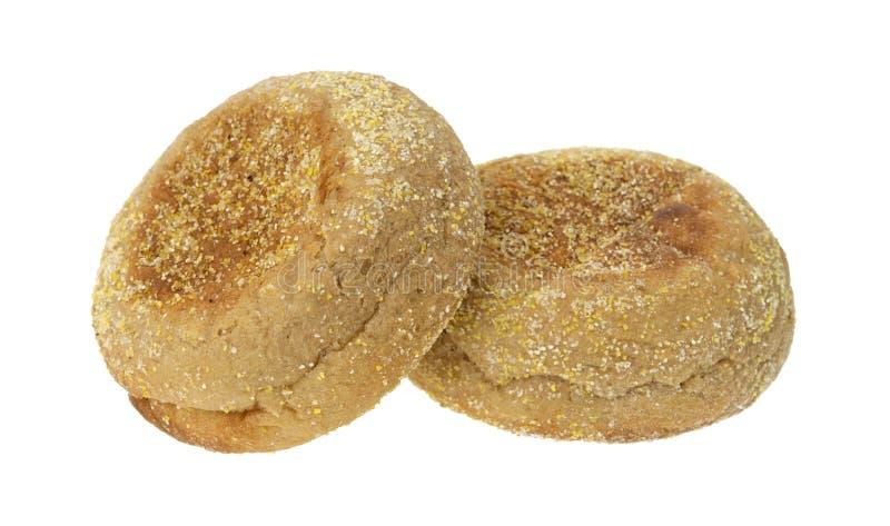 angielskich muffins dwa pszeniczny cały zdjęcie stock