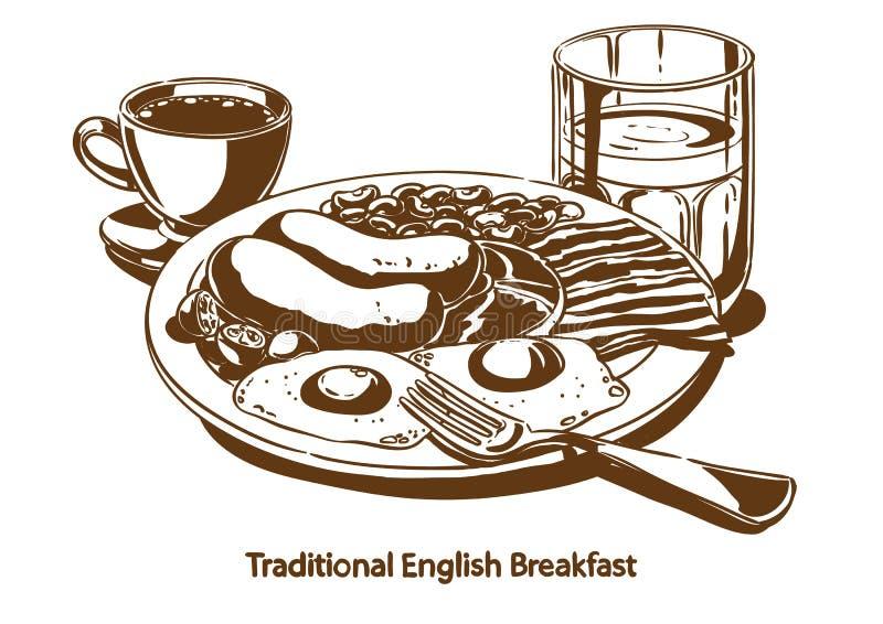 angielskie śniadanie tradycyjne royalty ilustracja