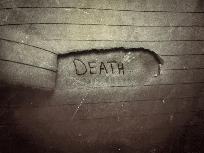 angielskie słowo śmierć kończy się na brutalnym papierze starym i vintage stylu fotografia stock