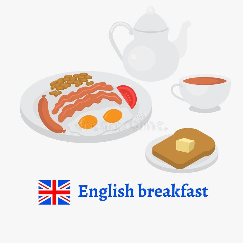 Angielskiego śniadania talerz z kiełbasą, jajkiem, becon, pomidorem i fasolami, Tradycyjna herbata i wznoszący toast chleb Londyń ilustracji