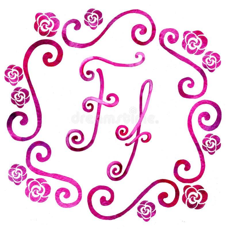 Angielskiego abecadła list F, odizolowywający na białym tle w eleganckiej ramie, ręcznie pisany banki target2394_1_ kwiatono?nego obraz stock