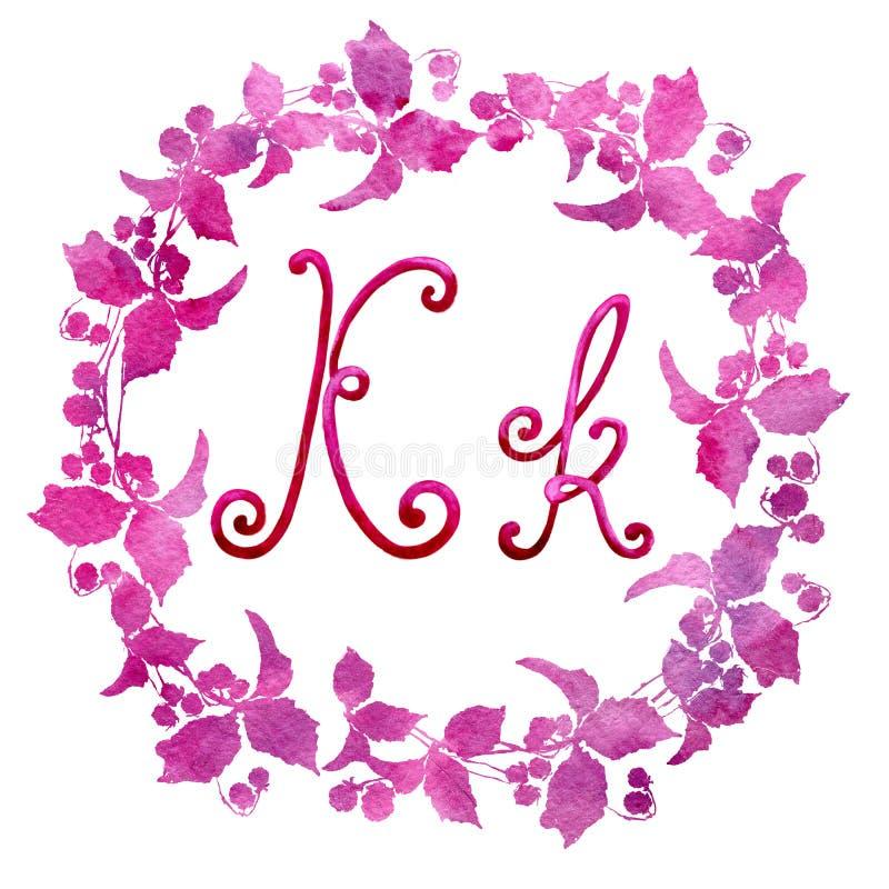 Angielskiego abecadła list K, odizolowywający na białym tle w eleganckiej ramie, ręcznie pisany banki target2394_1_ kwiatono?nego royalty ilustracja