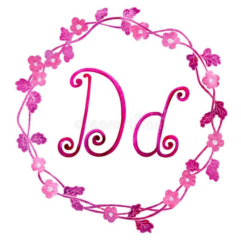 Angielskiego abecadła listu d, odizolowywający na białym tle w eleganckiej ramie, ręcznie pisany banki target2394_1_ kwiatono?neg zdjęcia stock