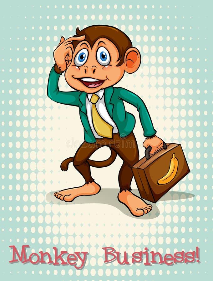 Angielskiego idiomu małpi biznes royalty ilustracja