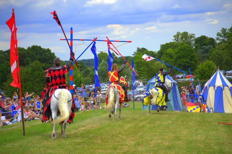 Angielskiego rycerza Hever kasztelu ono Potyka się turniej zdjęcie royalty free