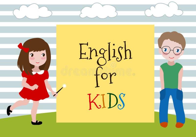 Angielszczyzny dla dzieciaków Wektorowa ilustracja dwa dzieciaka uczy się anglików Językowa szkoła dla dzieci ilustracji