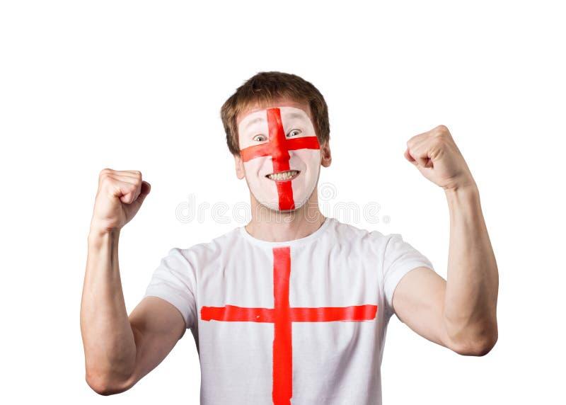 Angielszczyzny fan facet z malującą twarzą i koszulką isolate obrazy royalty free