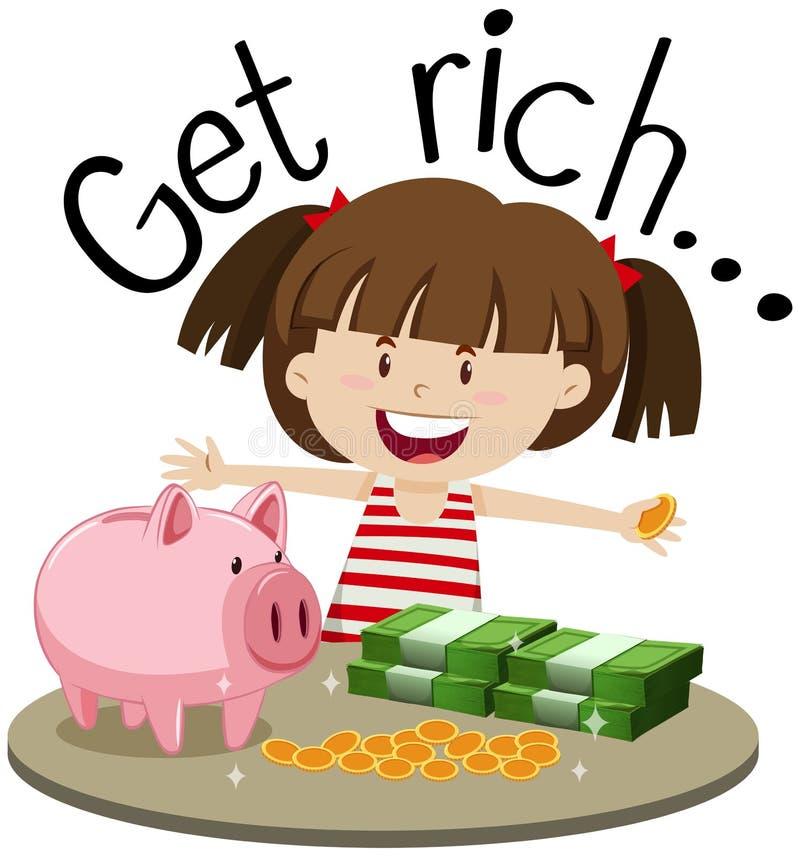 Angielszczyzny frazują dla dostają bogactwo z dziewczyną i pieniądze na stole ilustracji