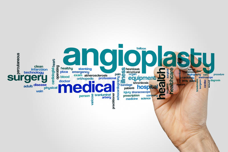 Angioplasty word cloud concept on grey background royalty free stock photo