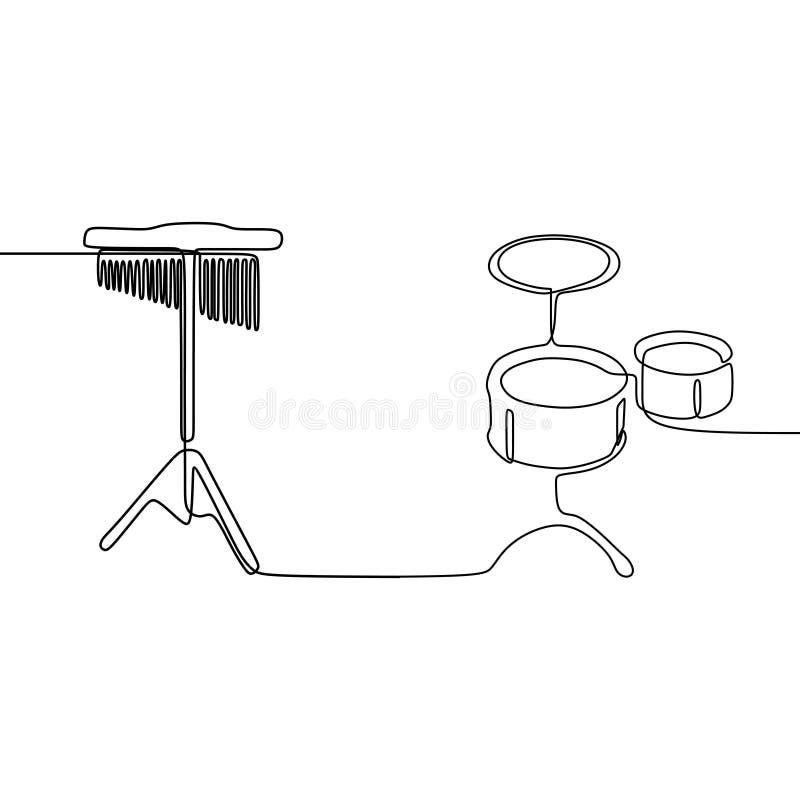 angklung και μικρό τύμπανο ένα γραμμών το συνεχές διανυσματικό περίγραμμα οργάνων γραμμών παραδοσιακό μουσικό έθεσε για το διάνυσ διανυσματική απεικόνιση