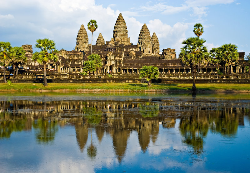 angkor柬埔寨日落wat 图库摄影