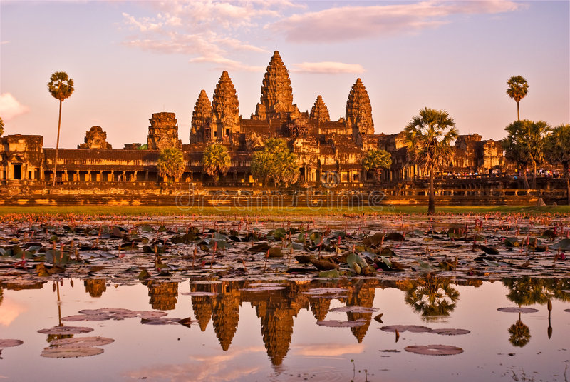 angkor柬埔寨日落wat 库存图片