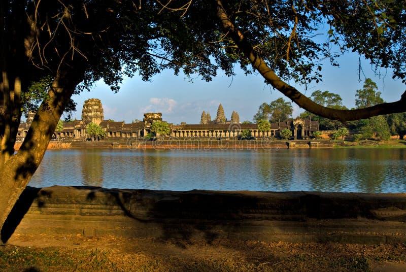 angkor柬埔寨日落wat 免版税图库摄影