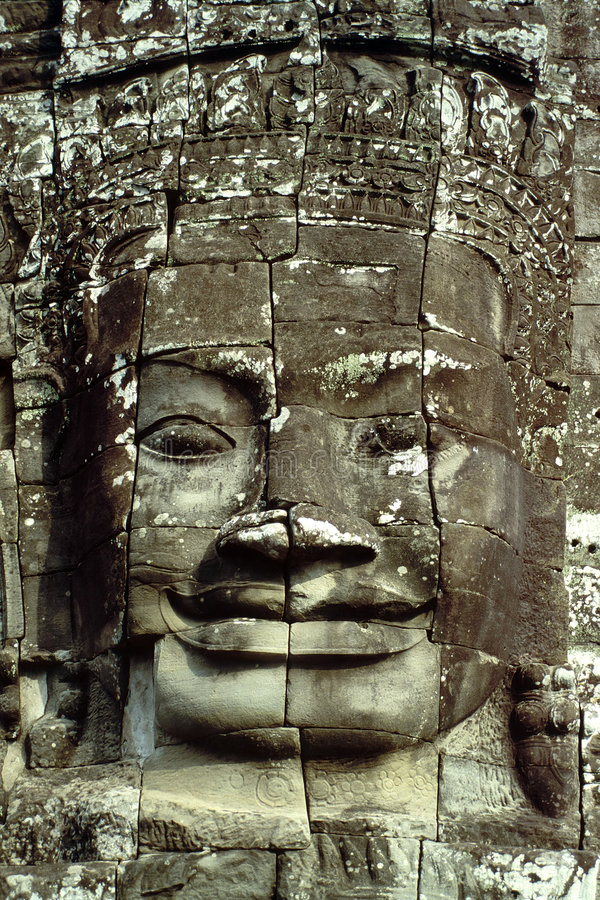 angkor柬埔寨表面微笑的wat 免版税库存图片