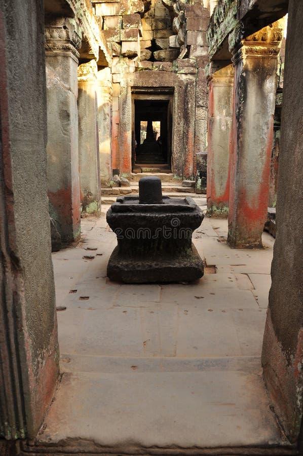 angkor柬埔寨 Preah可汗寺庙shiv linga 免版税图库摄影