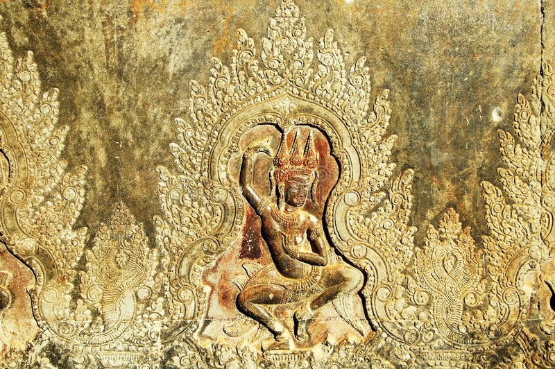 angkor走廊雕刻的墙壁wat 免版税库存照片