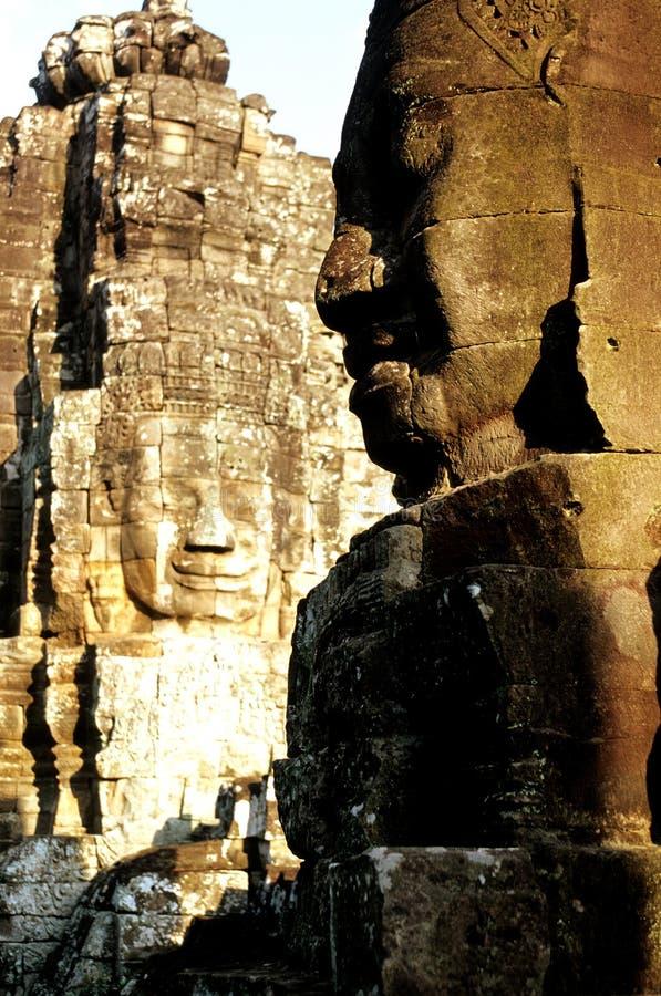 angkor高棉破坏雕象寺庙wat 库存照片
