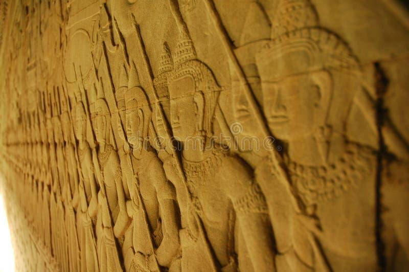 angkor высекая wat стены стоковая фотография rf