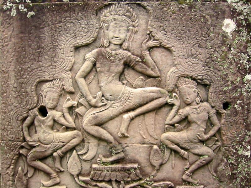 Angkor Asparas舞蹈演员高棉wat 免版税库存照片