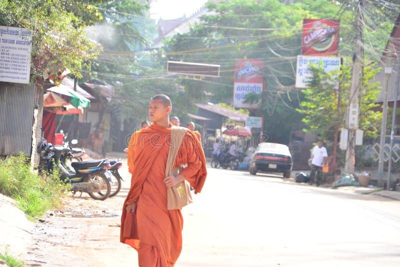 angkor banteay柬埔寨湖lotuses收割siem srey寺庙 库存照片