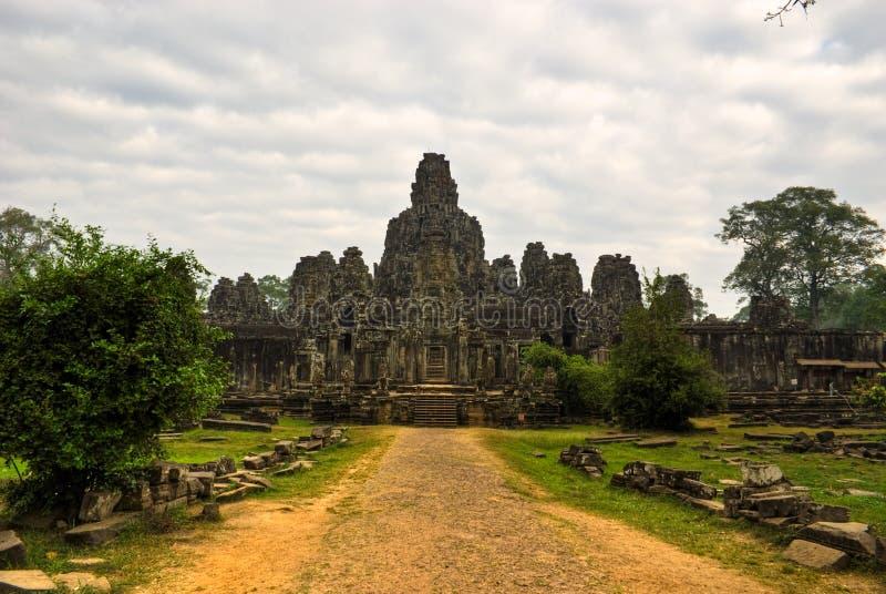 angkor bayon柬埔寨收割sieem寺庙thom 免版税库存照片