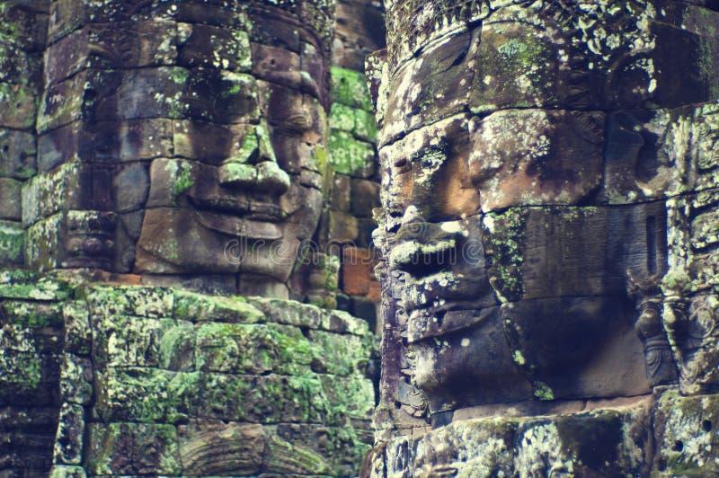 angkor bayon面对寺庙wat 图库摄影