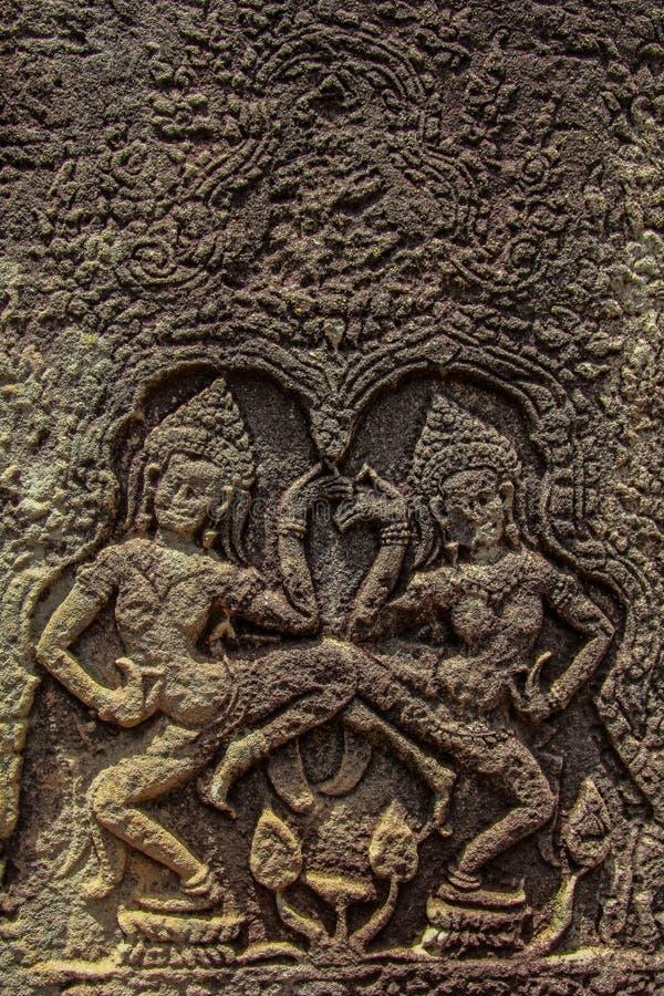 angkor Cambodia cyzelowań szczegółu kamienia wat zdjęcie royalty free