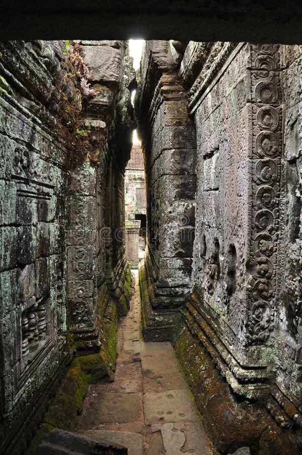 Angkor, Cambodia. Preah Khan temple. The Unesco world heritage Khmer archaeological site of Angkor, Siem Reap, Cambodia. Preah Khan temple narrow passage stock image
