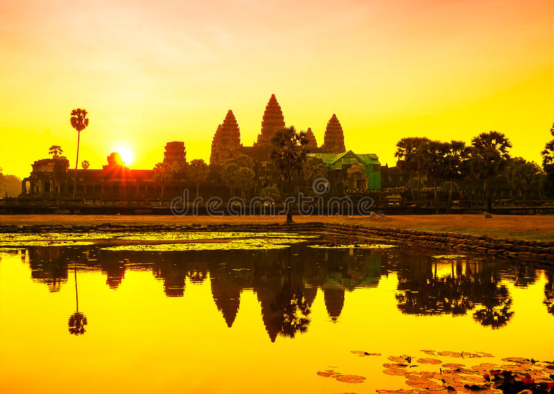 angkor Cambodia przeprowadzać żniwa siem wschód słońca wat Kambodża zdjęcia royalty free