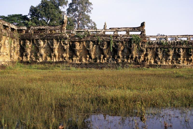 angkor Cambodia słonia ruin tarasowy wat obraz stock