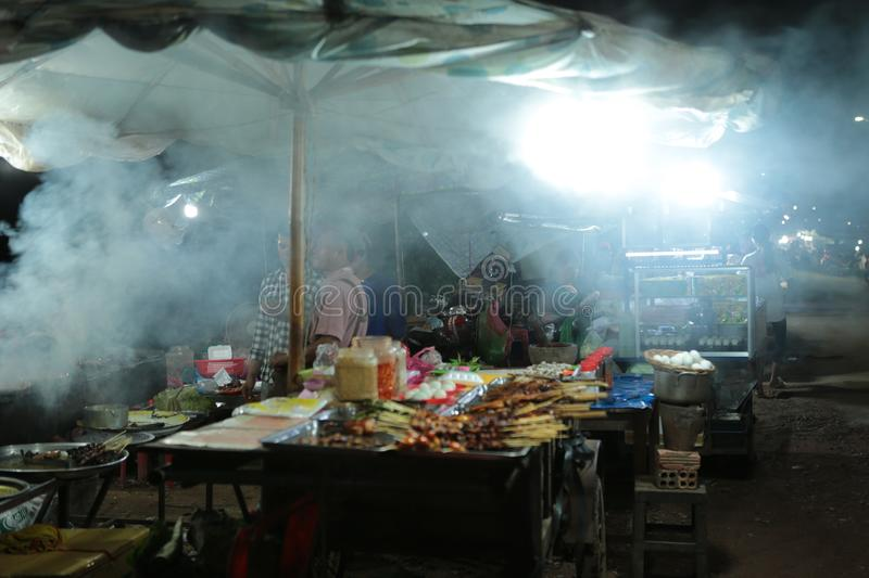 Night market in the street of Siem reap. The angkor night market in Siem Reap is one of the oldest night market in Cambodia. You can find many things as food and stock photo